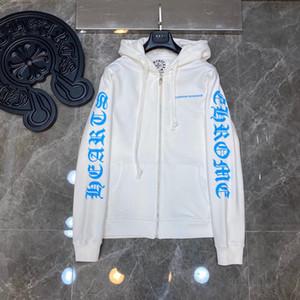 2020SS Chrome CH Corazones sánscrito de herradura de la flor fluorescente azul pavo real del brazo con cremallera con capucha S XL