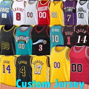 مخصص 23 LBJ Jersey MJ Dennis Marc Schroder Gasol Alex Derrick Caruso Rose ماكسي مايك Kleber Bibby Jimmy Danny Butler Green كرة السلة