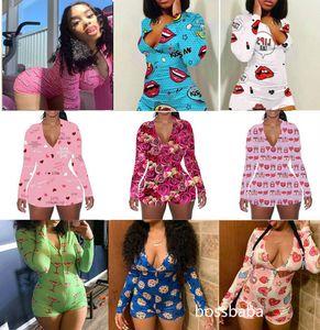 Frauen Jumpsuits Designer Pyjama Onesies Valentines Geschenk Nachtwäsche Bodysuit Training Button Leopard Gedruckt V-Neck Damen Kurzer Strampler 808