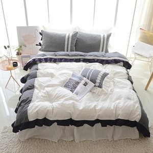 Bedding Sets 2021 Washed Cotton Comfortable Set Soft Lace Duvet Cover Bedskirt Pillow Bed Linen Twin Queen King Size 3 4 5pcs