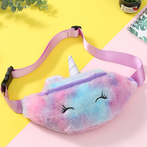 Kid Unicorn Stuffed Pencil Waist Bag Belt Fanny Pack Beach Student Teenager Purses Sports Unisex Gym Outdoor Cosmetic Bags Nice Gift GWF2582