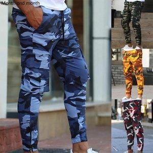 Erkek Kamuflaj Takım Pantolon Gym Fitness Eğitim Pantolon Koşu Cep Moda Rahat Streetwear Track Athletics Pantolon