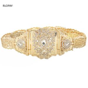 Trendy Water Drop Rhinestone Women Waist Chains Luxury long wedding belts Adjustable Length Moroccan Caftan Belts Y200730