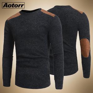 Pullover Herren College Style-Flecken Farbe Kontrast und verdickte Rundhals Pullover Male Fashion Thick Wollpullover Strick