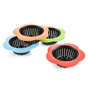 Silicone Kitchen Sink Strainer Flower Shaped Shower Sink Drains Cover Sink Colander Sewer Hair Filter Kitchen Accessories YHM678