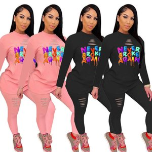 L5170 European and American popular alphabet printing suit, beautiful woman colorful alphabet, fashion sports leisure two-piece set