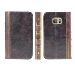 Retro Ancient Vintage Old Flip Book Style Leather Wallet Case For Iphone 12 11 XR XS MAX X 6 5 5S SE Galaxy Note 9 S9 S8 Plus Pouch Holder
