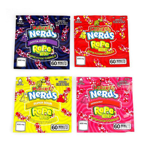 Square MEDICATED Nerds Rope Bites Packaging Bag Nerdsrope Empty Gummy Mylar Bags Food Packages For Dry Herb Tobacco Flower FWC3177