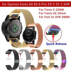 Milanese Loop Watchband For Garmin Fenix 6X 6S 6 5X 5 5S 3 3HR GPS Smart Watch Accessories 20 22 26mm Steel Bracelet