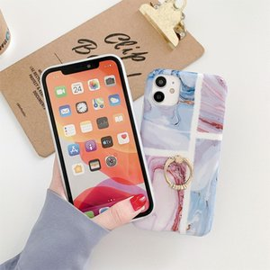 NEW For iPhone 11 Pro Ocean Wave Coral IMD Glossy Marble Phone Case with Ring Holder