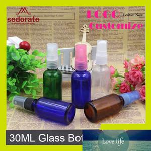 Sedorate 30 шт / Лот Стекло Spray Bottle Clear Blue Green Amber Glass Automizer лосьон бутылка 30мл Стеклянная колба Контейнер YM035
