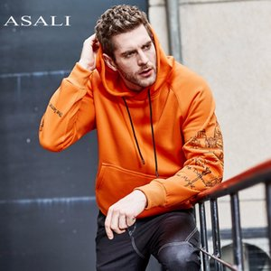 ASALI Fashion Orange Color Hoodies Mens Thick Winter Sweatshirts Men Hip Hop Streetwear USA Size Solid Fleece Hoody Man Clothing