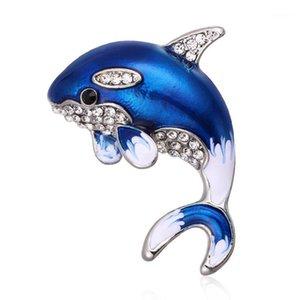 Kristal Rhinestone Yunus Broş Pins Mavi Gri Emaye Balık Hayvan Broşlar Kadınlar Için Giyim Suit Şal Aksesuarları Takı1