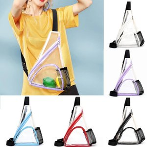 Women Outdoor Zipper Transparent Zipper Messenger Bags Sports Chest Waist Bag Transparent single shoulder diagonal sports June14