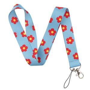 Ca90 Small Red Flower Lanyards Cool Neck Strap Mobile Phone Keys Id Card Holder Lanyard For Keys Diy Hanging Rope Lanyards jlluyB car_2010