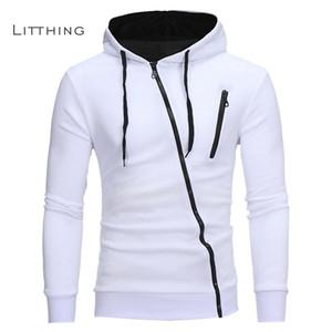NIBESSER 2020 Primavera Outono Moda Casual Sólidos Hoodies Homens suéter homens encapuzados Hoodie Zipper Tops Plus Size 3XL