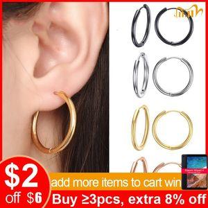 Vnox Grund Edelstahl-Band-Ohrringe für Frauen-Mann Runde Kreis-Schleife Ohrring aretes 25mm / 20mm / 11mm Unisex Ohrschmuck