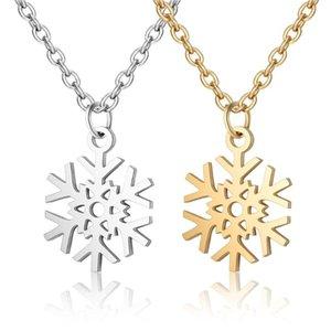 2020 Titanium Edelstahl Schneeflocke Anhänger Halskette Frauen Lange Silber Gold Link Kette Choker Ras de Cou Femme Schmuck Geschenk
