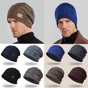 Unisex Fashion Plus Velvet Thicken Knit Caps Hedging Head Hat Beanie Cap Winter Warm Outdoor Slouchy Ski Knitted Letter Hat