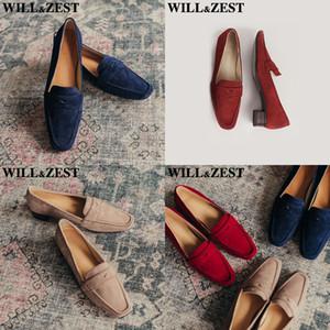 HBP Willzest Damen Wildleder Tief Heels Frau Müßiggänger Navy Blue Burgund Wohnungen Holz Plattform Trendy Schuhe Mode Echtes Leder Luxus Q1207