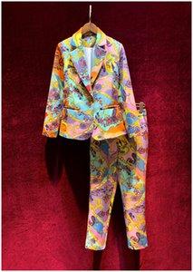 Vêtements pour femmes européennes et américaines Nouveau 2021 printemps manches longues dessin animé manteau d'impression neuf minutes de pantalon costumes de mode