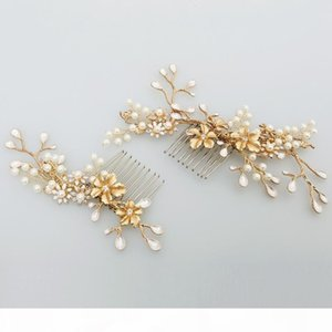 beijia New Design Gold Branch Flower Hair Comb Pearl Wedding Hair Jewelry Accessories Vintage Bridal Combs Headwear