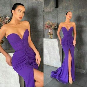 Purple Mermaid Prom Dresses Sweetheart High Front Split Arabic Evening Gowns Button Robes Customize Formal Party Gown