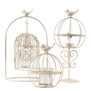 Secret Diary White Vintage Birdcage Wrought Iron Candlestick Scented Candle Accessories Tools Creative Home Furnishing Romantic Candlelight