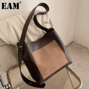 [EAM] Women New Large Capacity Bucket PU Leather Flap Personality All-match Crossbody Shoulder Bag Fashion Tide 2021 18A1266