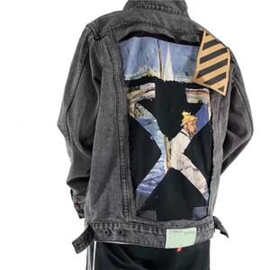 OFF Melbourne destroys oil painting graffiti arrow cowboy couple fake two-piece jacket coatQK10