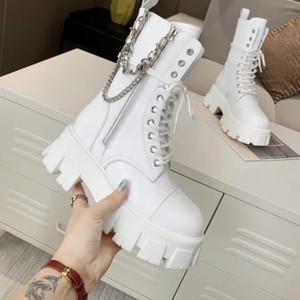 Sexy Fashion Femmes Bottes Chunky Heel Lady Boot Chain Bottes Bottes Mid-Calf Bottes de haute qualité avec boîte