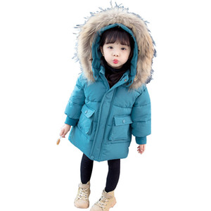 Girl's solid color long real wool collar cotton padded jacket fashion of winter baby with plush and thickened foreign style coats children