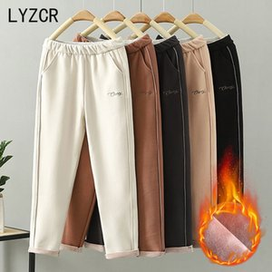 Lyzcr lana inverno caldo di spessore Vintage autunno addensare Feleece Pantaloni Harem per Velvet Donne pantaloni Capris