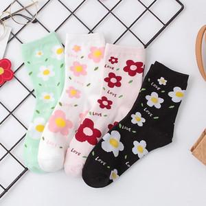 Korean Style Cartoon Letter Flower Kawaii Socks Women Black White Antumn Winter Womens Cute Socks for Ladies