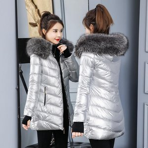 Women's Trench Coats 2021 Winter Jacket Fashion Golden Silver Bright Hooded Coat Warm Cotton Padded Long Parkas Large Fur Colla Parka