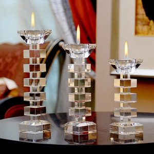 New Crystal Candle Holder Nordic Simple WeKKing Table Core Candle Holder Glass Kandelaar Home Decor KK60ZT