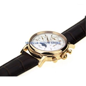 Sugess Mens Watch Mechanical Chronograph 1963 Vestido Tianjin Movimiento ST1908 Gold Patted White Dial1 Relojes de pulsera