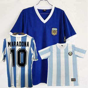 1986 Camiseta Argentina 축구 유니폼 Maillot Camiseta Maradona 86 홈 멀리 셔츠 축구 남자와 아이 셔츠