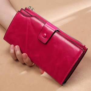 RFID Blocking Genuine Leather Women Wallet Long Lady Leather Purse Brand Design Luxury Oil Wax Leather Female Wallet Coin Purse