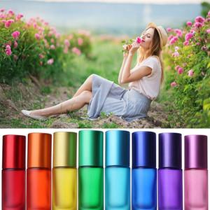8pcs 5ml Essential Oil Roller Glass Bottle Massage Ball Bearing Container Travel Refillable Rollerball Perfum jllvAO