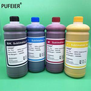 Noir 1000ml Cyan Magenta Jaune Couleur 1 litre d'encre Sublimation transfert de chaleur Peinture Recharges eau Kit pour imprimante jet d'encre