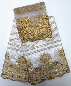 White color embroidered bazin riche getzner with tulle lace fabric African Bazin fabric for women dress1