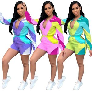 2019 women new summer zipper up colorful splicing long sleeve short jumpsuit sporty casual playsuit romper outfit 3 color AJ40601