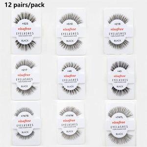 12 Pairs False Eyelashes Winged Crisscross Fake Mink Eyelashes Reusable False Lashes Makeup Eyelash Extension Kits Takma Kirpik