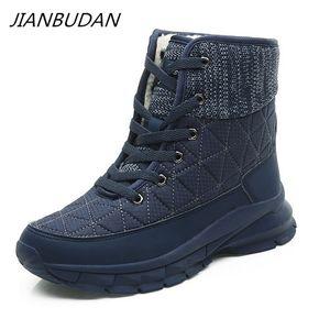 JIANBUDAN Big size Women's warm snow boots Casual outdoor cotton shoes High quality plush warm Lace-Up women's shoes 35-41 201007