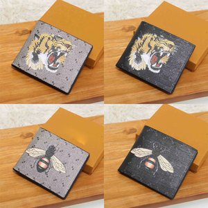 luxurys designers bags 2020 High quality men animal Short Wallet Leather black snake Tiger bee Wallets Women Purse Wallet card Holder