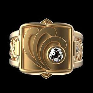 Novo anel de produto hip hop punk 18k banhado a ouro anel dos homens europeu e americano caixa flip anel moda jóias fornecimento