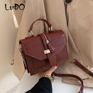 LUCDO Stone Pattern Ladies Hand bag designer small Chain Crossbody bags For luxury Women 2020 PU Leather Shoulder Messenger Bag