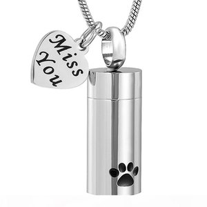 Pet Paw Cylinder Memorial Urn Necklace & Miss You Heart Charm Stainless Steel Cremation Jewelry for Pet Dog Cat Free Engrave