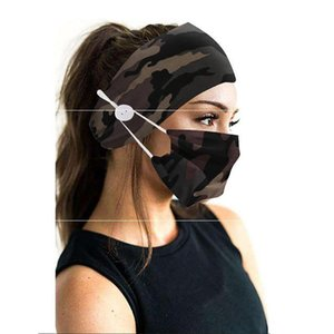 New Creativity Camouflage Hair Band Mask Set Button lanyard Dustproof Anti-fog Breathable Antiperspirant Fashion Masks For Women OWF2259